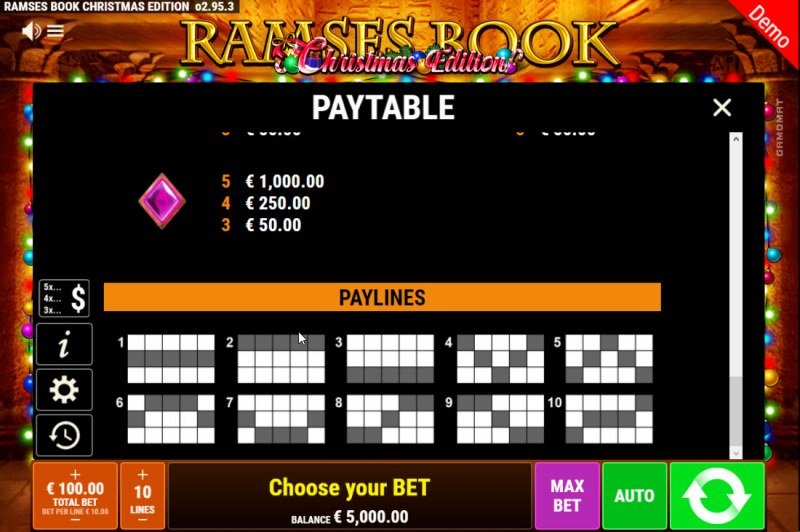 Ramses Book Christmas Edition :: Paylines 1-10