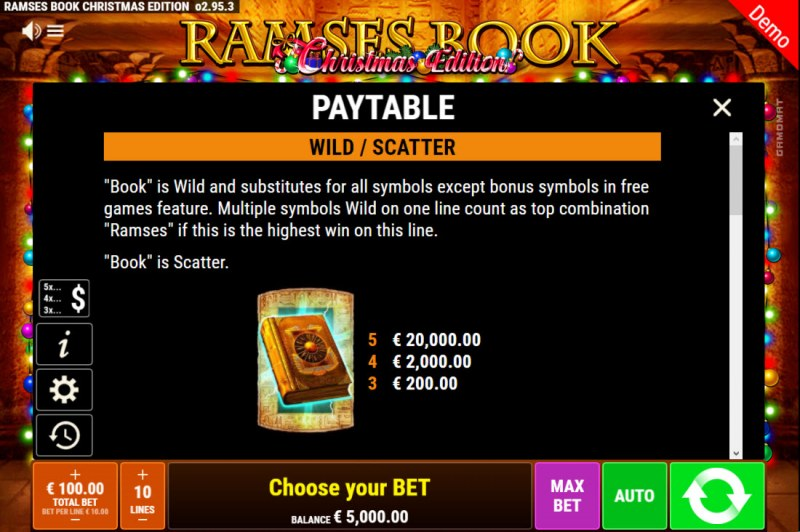 Ramses Book Christmas Edition :: Wild and Scatter Rules