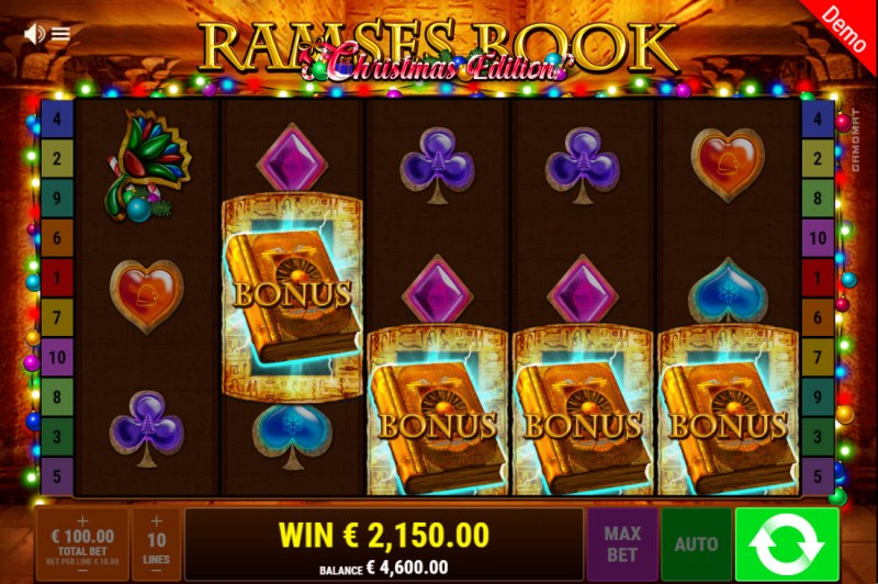 Ramses Book Christmas Edition :: Scatter symbols triggers the free spins bonus feature