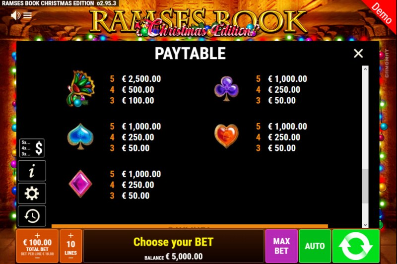 Ramses Book Christmas Edition :: Paytable - Low Value Symbols