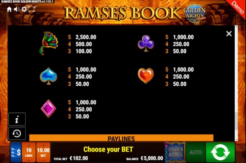 Ramses Book Golden Nights Bonus :: Paytable - Low Value Symbols