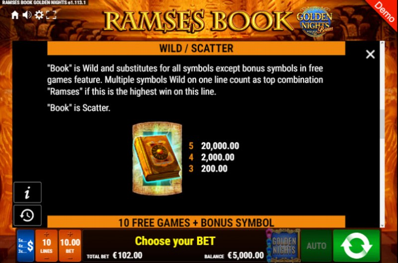 Ramses Book Golden Nights Bonus :: Wild and Scatter Rules