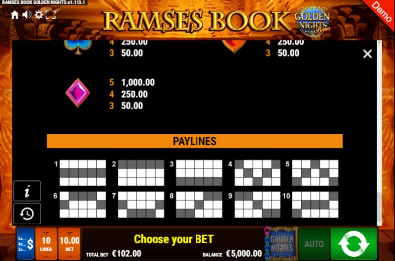 Ramses Book Golden Nights Bonus :: Paylines 1-10