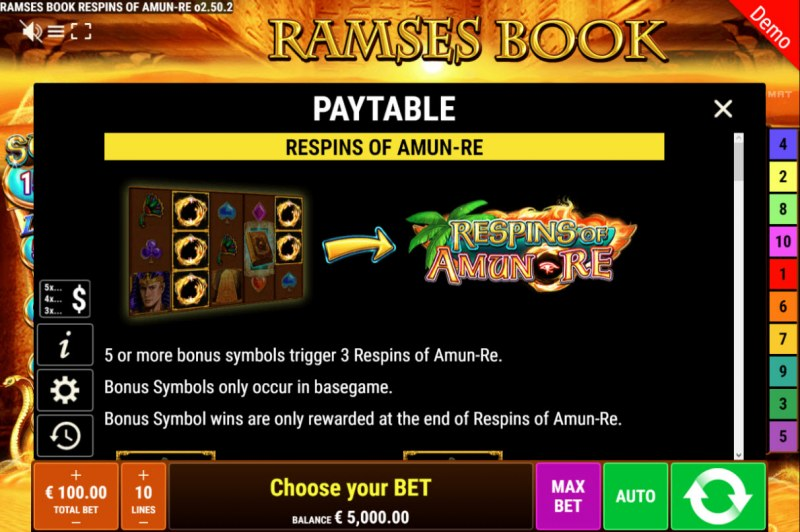 Ramses Book Respins of Amun Re :: Respins Feature Rules
