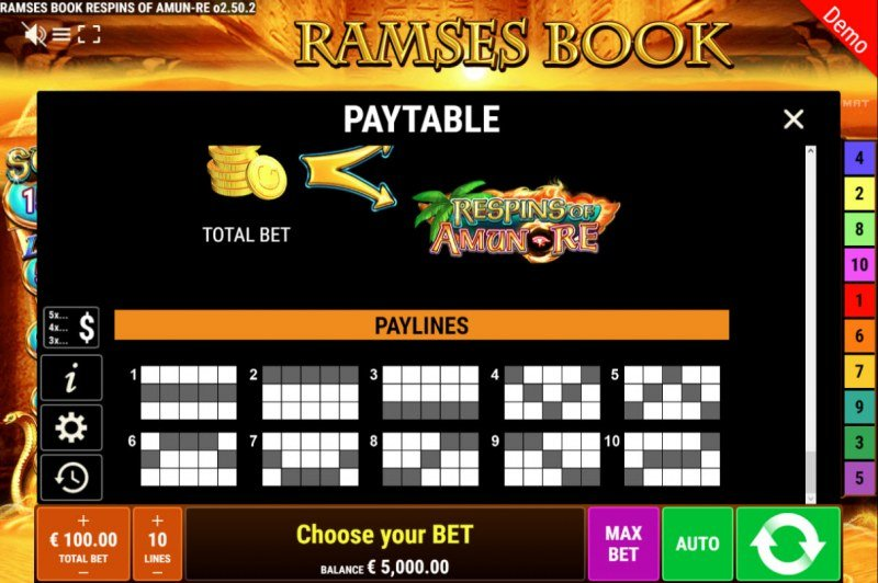 Ramses Book Respins of Amun Re :: Paylines 1-10