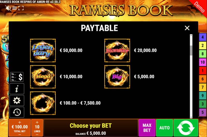 Ramses Book Respins of Amun Re :: Paytable - Feature