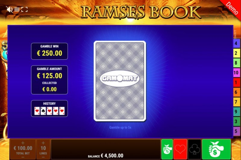 Ramses Book Respins of Amun Re :: Black or Red Gamble Feature