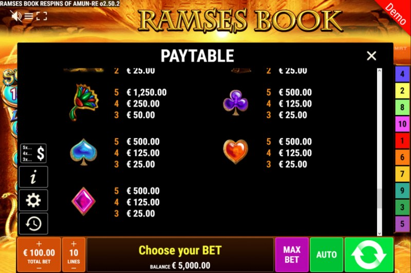 Ramses Book Respins of Amun Re :: Paytable - Low Value Symbols
