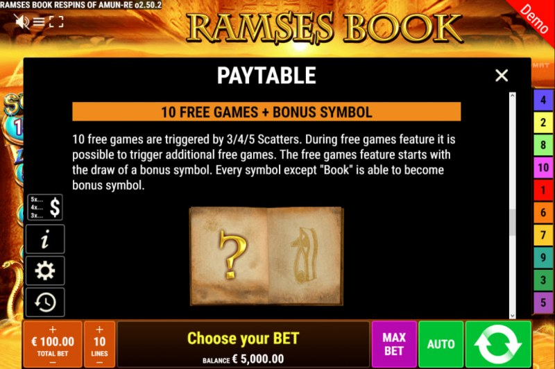 Ramses Book Respins of Amun Re :: Free Spins Rules