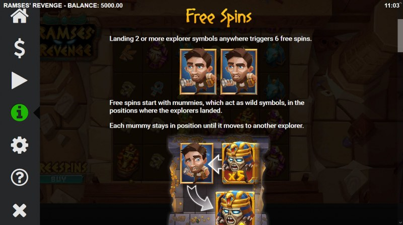Ramses' Revenge :: Free Spin Feature Rules