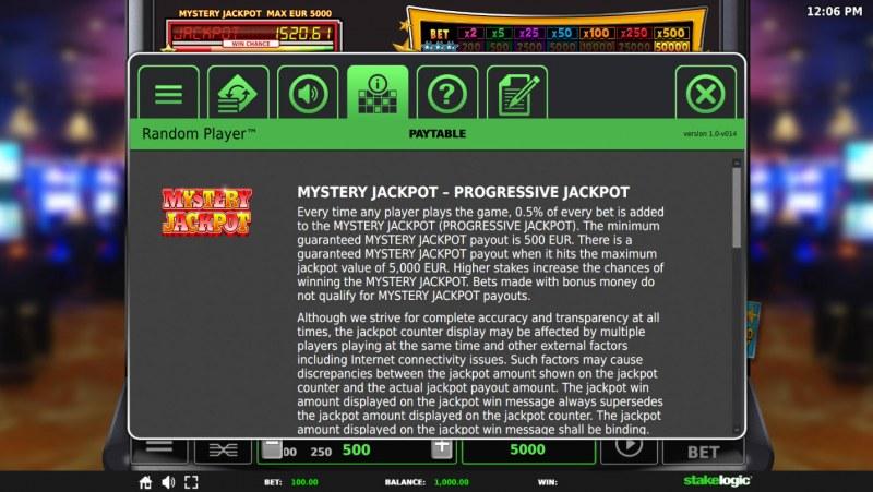 Random Player Arcade :: Jackpot Rules