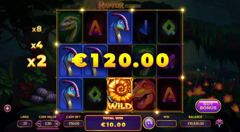 Raptor Doublemax :: A three of a kind win