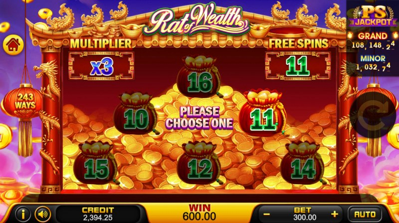 Rat of Wealth :: Choose one to reveal the number of free spins