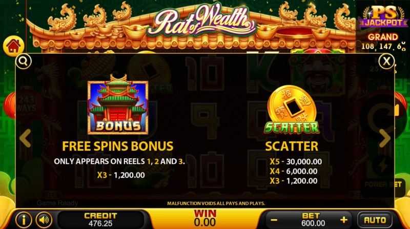 Rat of Wealth :: Free Spins Rules