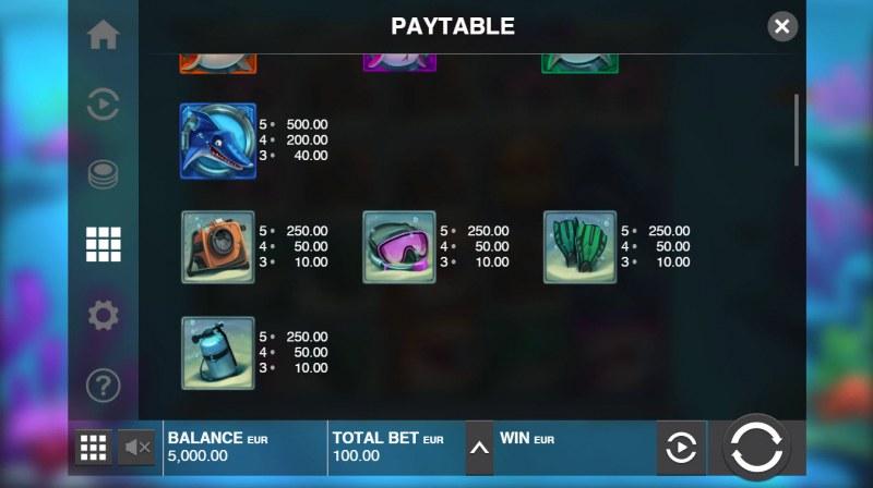 Razor Shark :: Paytable - Low Value Symbols