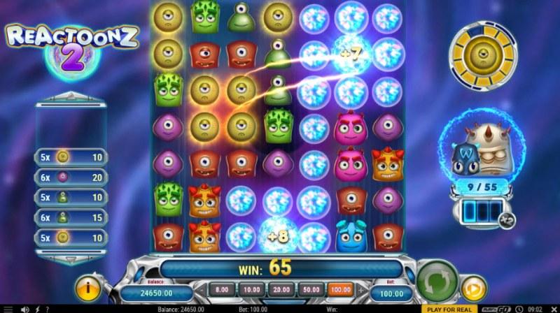 Reactoonz 2 :: Multiple winning combinations