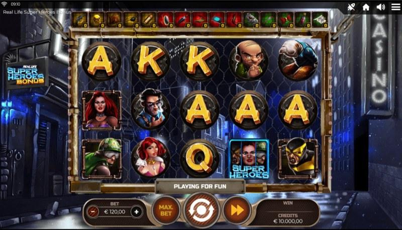 Real Life Super Heroes Bonus :: Base Game Screen