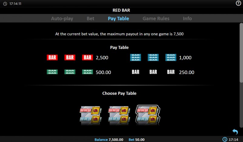 Red BAR :: Paytable