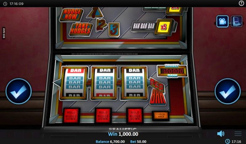 Red BAR :: A three of a kind win