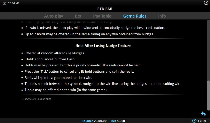 Red BAR :: Feature Rules