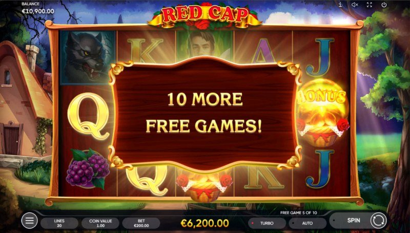 Red Cap :: 10 more free spins awarded