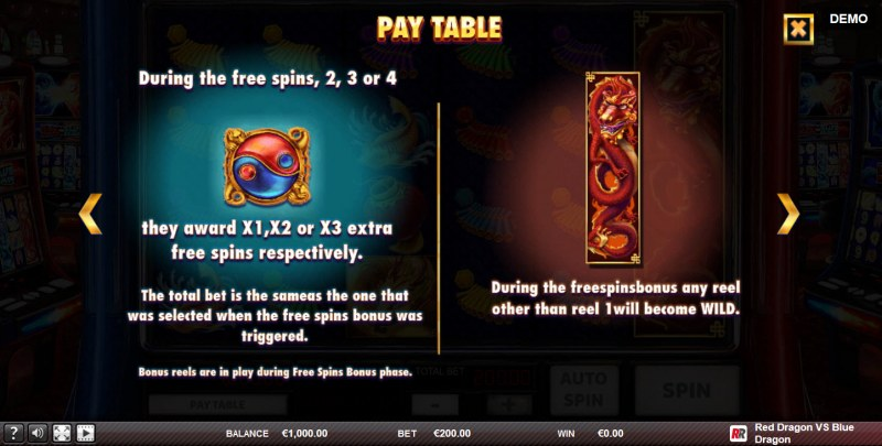 Red Dragon vs Blue Dragon :: Free Spins Rules