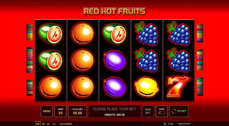 Red Hot Fruits :: Main Game Board