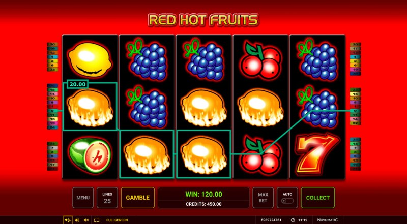 Red Hot Fruits :: A four of a kind win