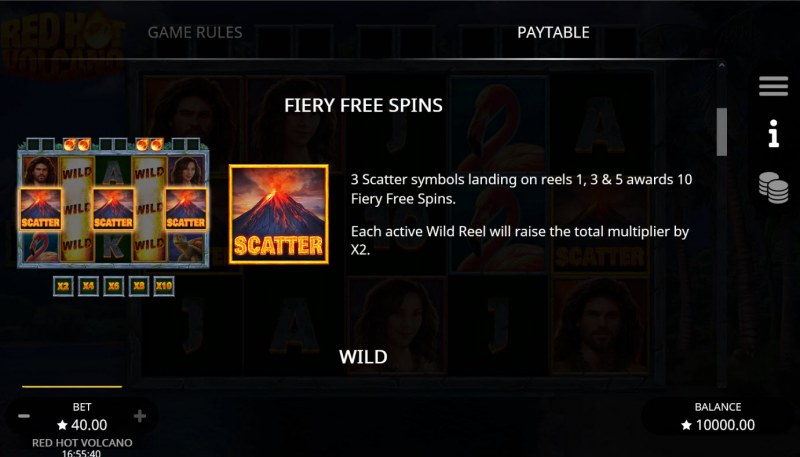 Red Hot Volcano :: Free Spin Feature Rules