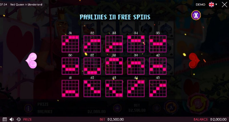 Red Queen in Wonderland :: Free Spins Prize Lines
