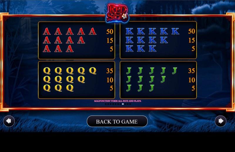 Red Silk :: Paytable - Medium Value Symbols