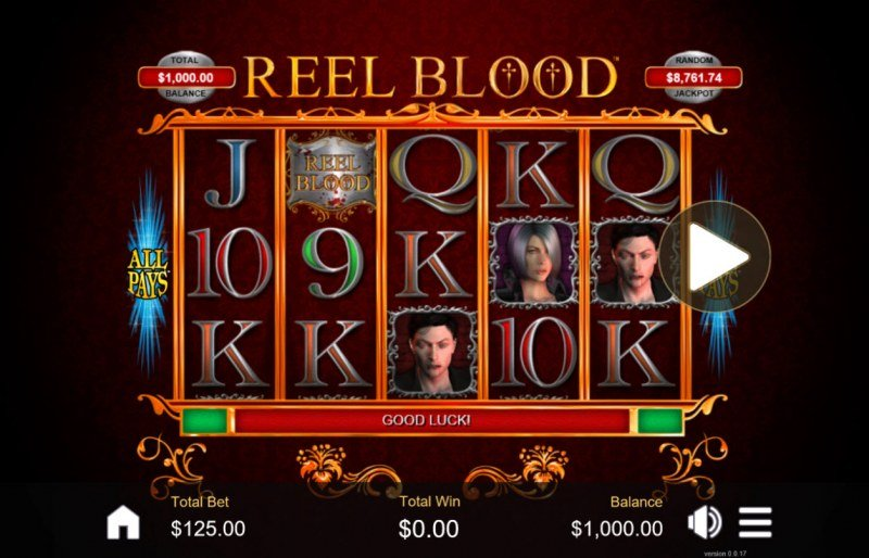Play slots at Saturn: Saturn featuring the Video Slots Reel Blood with a maximum payout of $6,250