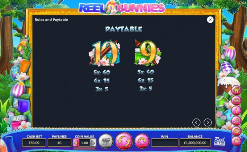 Reel Bunnies :: Paytable - Low Value Symbols