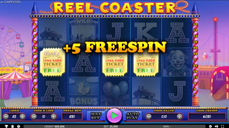 Reel Coaster :: 5 Free Spins Awarded