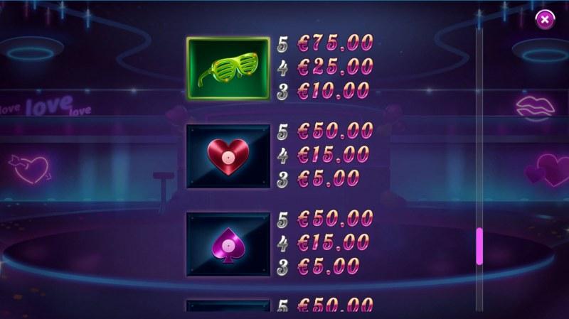 Reel Desire :: Paytable - Low Value Symbols