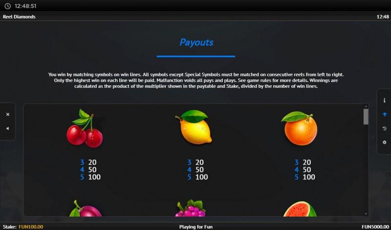 Reel Diamonds :: Paytable - Low Value Symbols