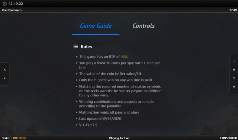 Reel Diamonds :: General Game Rules