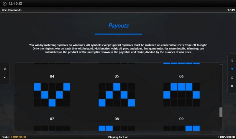 Reel Diamonds :: Paylines