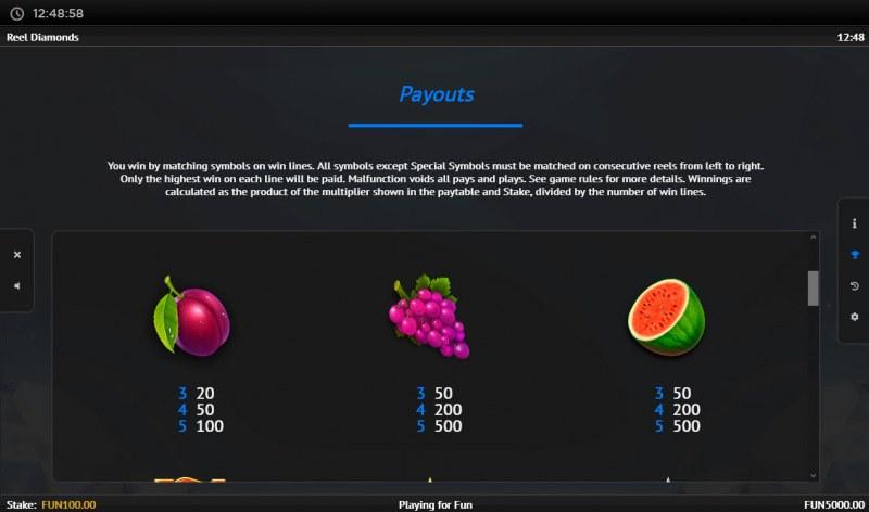 Reel Diamonds :: Paytable - Medium Value Symbols