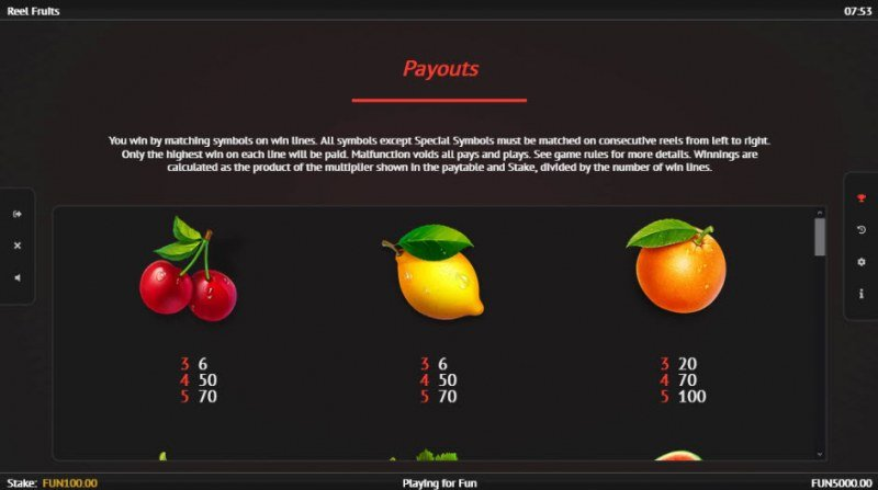 Reel Fruit :: Paytable - Low Value Symbols