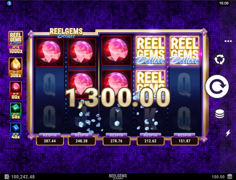 Reel Gems Deluxe :: Multiple winning combinations lead to a big win