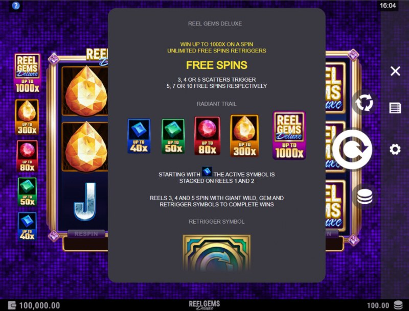 Reel Gems Deluxe :: Free Spin Feature Rules