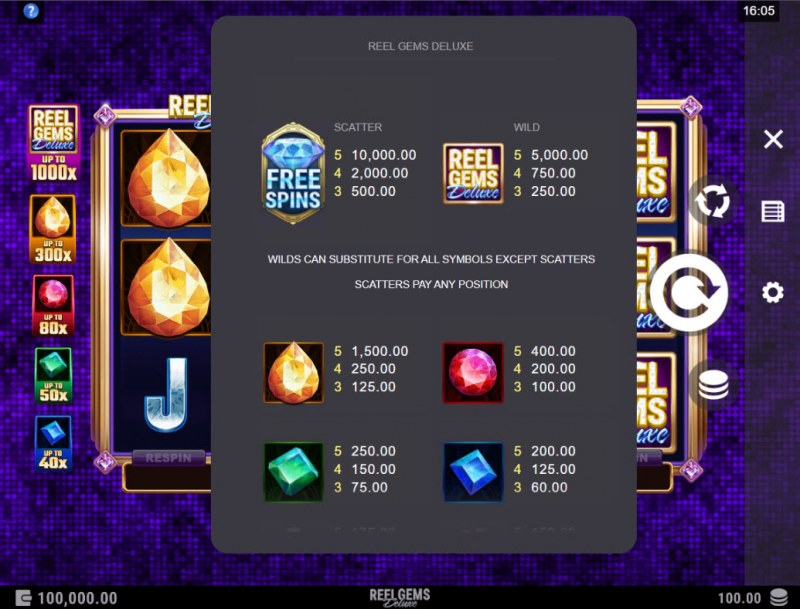 Reel Gems Deluxe :: Paytable - High Value Symbols