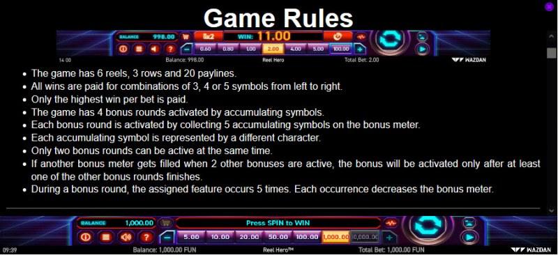 Reel Hero :: General Game Rules