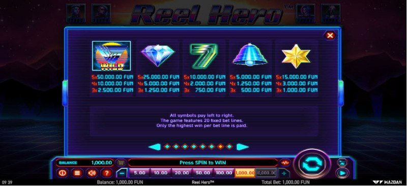 Reel Hero :: Paytable - High Value Symbols