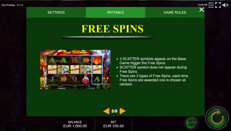 Reel Holidays :: Free Spin Feature Rules