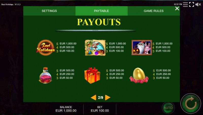 Reel Holidays :: Paytable - High Value Symbols