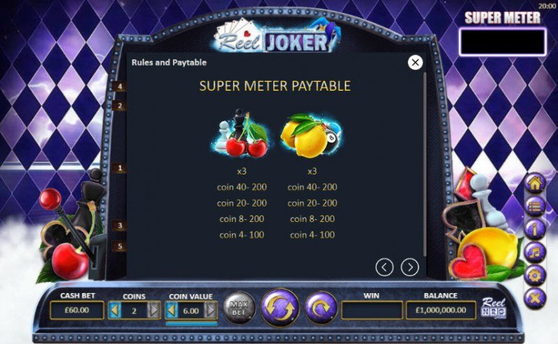 Reel Joker :: Super Meter Paytable