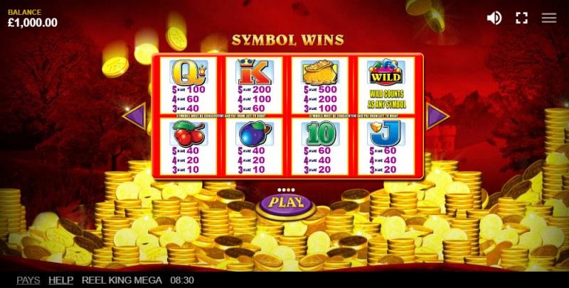 Reel King Mega :: Paytable