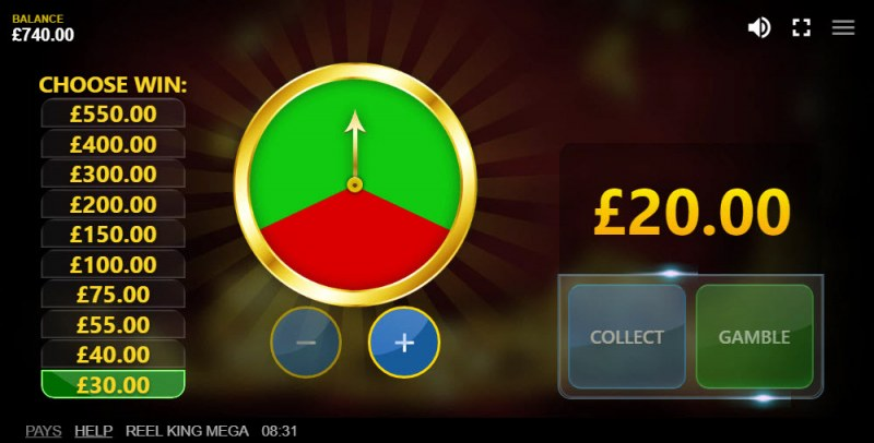 Reel King Mega :: Gamble Feature Game Board